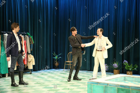 Leon Ford (Belvile), Toby Schmitz (Willmore) and Gareth Davies (Ned Blunt) perform a scene