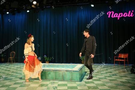 Taylor Ferguson (Hellena) and Toby Schmitz (Willmore) perform a scene