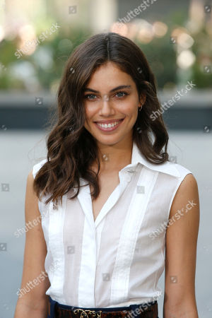 Model Shlomit Malka poses for photographers upon arrival at the Chanel Haute Couture Fall/Winter 2017/2018 fashion collection presented in Paris, on in Paris
