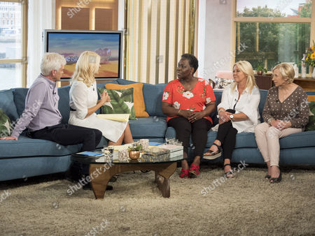 Phillip Schofield and Holly Willoughby with Corleta Somerville, Paula Allen and Val Hughes