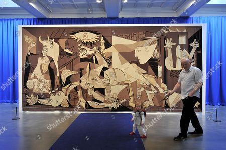 Installation of a 1939 Picasso tapestry of Guernica forms part of an installation by Polish artist Goshka Macuga