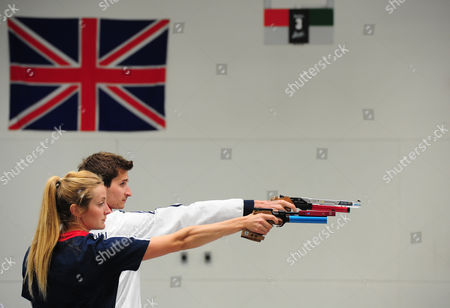 Freyja Prentice 25 From Inverurie And Jamie Cooke 25 From Cheltenham Shoot A Practice Round. Pentathlon GB Squad 2016 Warm Up For The 2016 World Championships Ahead Of The Rio Olympic Games On A Media Day In Bath University Where The Athletes Train. 2016/05/18.