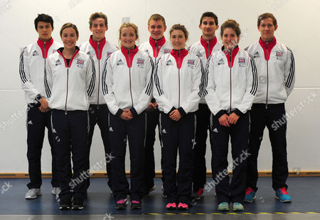 Stock Image of Joe Choong Samantha Murray Sam Curry Freyja Prentice Joe Evans Joanna Muir Jamie Cooke Kate French And Tom Toolis. The Whole Team. Pentathlon GB Squad 2016 Warm Up For The 2016 World Championships Ahead Of The Rio Olympic Games On A Media Day In Bath University Where The Athletes Train. 2016/05/18.