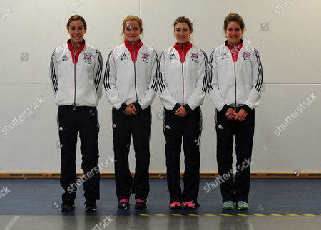 Editorial image of Pictured: Samantha Murray Freyja Prentice Joanna Muir And Kate French. Pentathlon Gb Squad 2016 Warm Up For The 2016 World Championships Ahead Of The Rio Olympic Games On A Media Day In Bath University Where The Athletes Train. 2016/05/18 Picture By