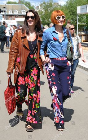 Chelsea Flower Show - Day 1: Pictured: Mary Portas (right) Visits Chelsea Flower Show With Her Partner Melanie Rickey (left) Celebrities Visit Chelsea Flower Show On The Press Preview Day.