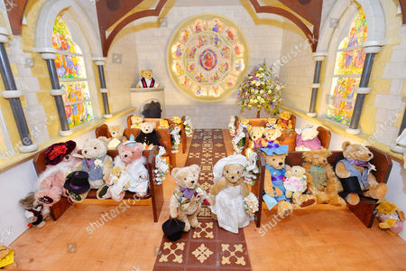 Pictured  A Tableau Of The Teddy Bears Wedding. Collection Of Teddy Bears From Broadcaster And Former MP Giles Brandreth Gifted To Newby Hall Ripon North Yorkshire In A New Permanent Exhibition.   24/5/16.