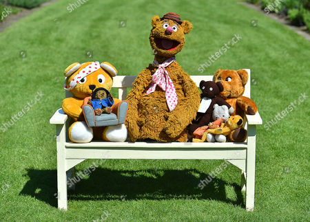 Collection Of Teddy Bears From Broadcaster And Former Mp Giles Brandreth (pictured L To R) Pudsey Bear Paddington Bear Fozzie Bear Mr Bean's Bear Sooty Rupert And Nookie The Bear Gifted To Newby Hall Ripon North Yorkshire In A New Permanent Exhibition.