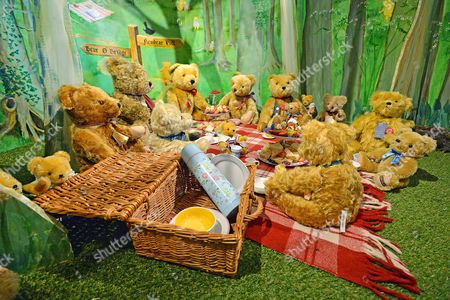 A Tableau Of The Teddy Bears Picnic. Collection Of Teddy Bears From Broadcaster And Former MP Giles Brandreth Gifted To Newby Hall Ripon North Yorkshire In A New Permanent Exhibition.   24/5/16.