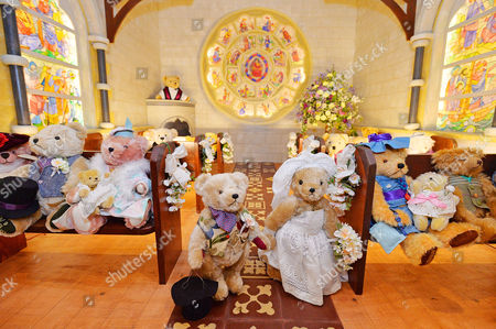 A Tableau Of The Teddy Bears Wedding. Collection Of Teddy Bears From Broadcaster And Former MP Giles Brandreth Gifted To Newby Hall Ripon North Yorkshire In A New Permanent Exhibition.   24/5/16.