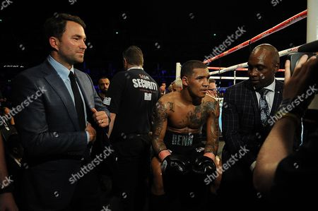 Matchroom Boxing Eddie Hearn Feature : Pic Shows:- Eddie Hearn (l) Ringside With Connor Benn (c) And Nigel Benn (r).