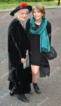 Jean Boht (l) With Joanna Phillips-lane Who Played 'roxy' In Bread. - Carla Lane Funeral At Liverpool Anglican Cathedral Liverpool Merseyside.