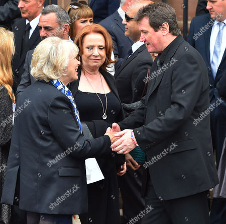 (l To R) Wendy Craig Melanie Hill And Peter Howitt.- Carla Lane Funeral At Liverpool Anglican Cathedral Liverpool Merseyside.