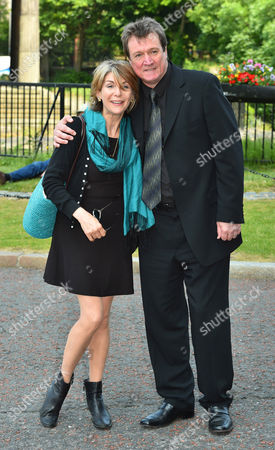 Peter Howitt With Joanna Phillips-lane Who Played 'roxy' In Bread. - Carla Lane Funeral At Liverpool Anglican Cathedral Liverpool Merseyside.