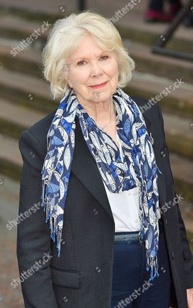 Stock Picture of Wendy Craig - Carla Lane Funeral At Liverpool Anglican Cathedral Liverpool Merseyside.
