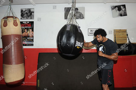 David Haye Is Invited By Joe Fournier Down To Miami 5th Street Gym Where Muhammad Ali Trained David Working Out On A Heavy Bag Wearing Ali T Shirt And Shorts In Respect Of The Late Fighter.