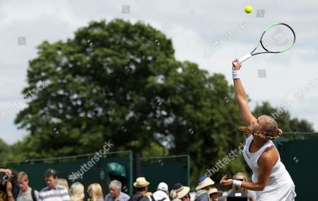Shelby Rogers of the United States returns to Julia Boserup of the United States during their Women's Singles Match on day two at the Wimbledon Tennis Championships in London