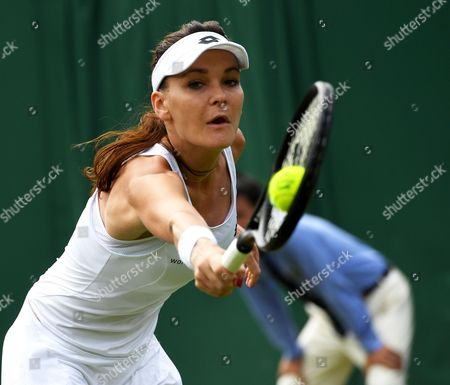 Agnieszka Radwanska of Poland in action against Jelena Jankovic of Serbia during their first round match for the Wimbledon Championships at the All England Lawn Tennis Club, in London, Britain, 04 July 2017.