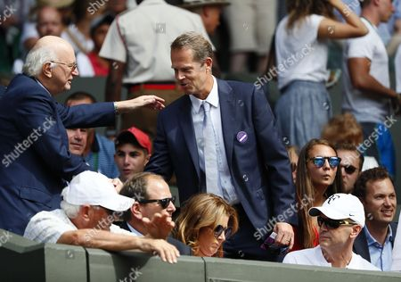 Former player Stefan Edberg arrives on Centre Court to watch Roger Federer of Switzerland play Alexandr Dolgopolov of Ukraine in their first round match during the Wimbledon Championships at the All England Lawn Tennis Club, in London, Britain, 04 July 2017.