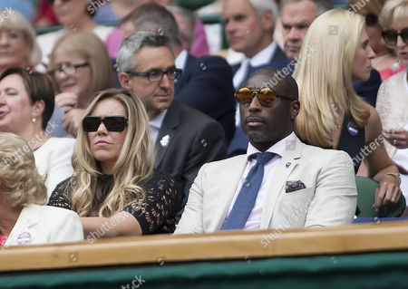 Ex Arsenal and England Footballer Sol Campbell and his wife Fiona sit in the royal box, Wimbledon Championships 2017, Day 2, All England Lawn Tennis & Croquet Club, Church Rd, London, United Kingdom - 04  July 2017