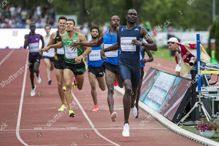 David Rudisha of Kenya (R) is on his way to win men's 800 meters sprint final at the Gyulai Istvan Memorial Track and Field Grand Prix in Szekesfehervar, Hungary, 04 July 2017.