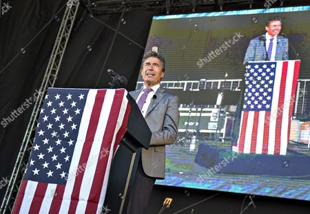 Former Danish Prime Minister Anders Fogh Rasmussen delivers a speech during the more than hundred years old traditional celebration of US Independence Day in Rebild National Park in Northern Jutland, Denmark, 04 July 2017. The Rebild party celebrates the friendship between the United States and Denmark on the US Independence Day, 4th of July.