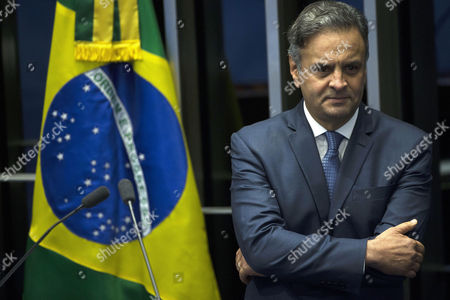 Editorial picture of Senator Aecio Neves appears for the first time after the revocation of his seat suspension, Brasilia, Brazil - 04 Jul 2017