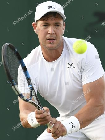 Marcus Willis (GBR) while playing a doubles match with Jay Clarke (GBR)