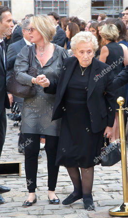Bernadette Chirac, wife of former French President Jacques Chirac, right, and her daughter Claude Chirac arrives to attend a ceremony to pay tribute to Simone Veil in the courtyard of the Invalides in Paris, France, . Holocaust survivors are joining France's president and European dignitaries at a special memorial ceremony for Simone Veil, who rose from the horrors of Nazi death camps to become president of the European Parliament and one of France's most revered politicians