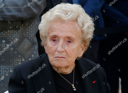 Bernadette Chirac, wife of former French President Jacques Chirac attends a ceremony to pay tribute to Simone Veil in the courtyard of the Invalides in Paris, France, . Holocaust survivors are joining France's president and European dignitaries at a special memorial ceremony for Simone Veil, who rose from the horrors of Nazi death camps to become president of the European Parliament and one of France's most revered politicians