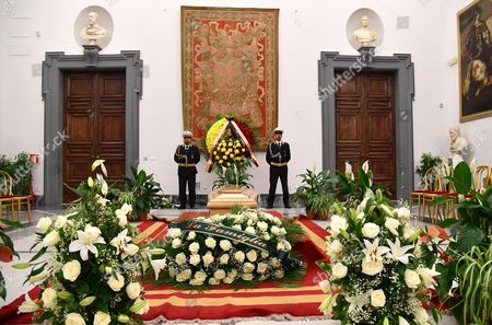 The coffin of Paolo Villaggio is seen inside the City Hall in Rome, Italy, 05 July 2017. A non-religious funeral will be held this afternoon at Rome's Casa del Cinema (Home of Cinema) center. Italian actor, writer and director Paolo Villaggio, one of the greatest of the Italian comedy, died at a Rome clinic on 03 July at the age of 84.