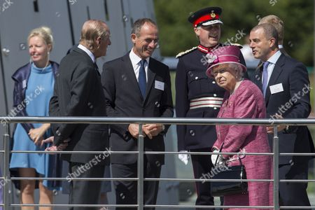 Prince Philip, Andrew Thin, Chairman of Scottish Canals, Alan Simpson, Lord Lieutenant of Stirling and Falkirk, Queen Elizabeth II and Steve Dunlop, Chief Executive of Scottish Canals