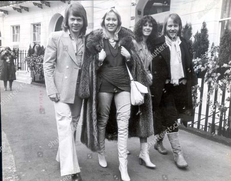 Pop Group Abba 1978 Pictured - The Swedish Pop Group Abba In London To Promote Their First Film. From Left - Bjorn Ulvaeus Agnetha Faitskog Frieda Lyngstad Benny Anderson....