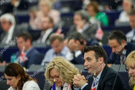 Florian Philippot a French far-right parliament member attends a session at the Euopean parliament just before a vote in Strasbourg, eastern France