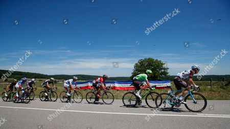 Belgium's Jan Bakelants, Netherland's Dylan van Baarle, Belgium's Thomas De Gendt, France's Pierre Luc Perichon, Norway's Edvald Boasson Hagen, Belgium's Philippe Gilbert, France's Mickael Delage and France's Thomas Voeckler, from left, ride breakaway during the fifth stage of the Tour de France cycling race over 160.5 kilometers (99.7 miles) with start in Vittel and finish in La Planche des Belles Filles, France