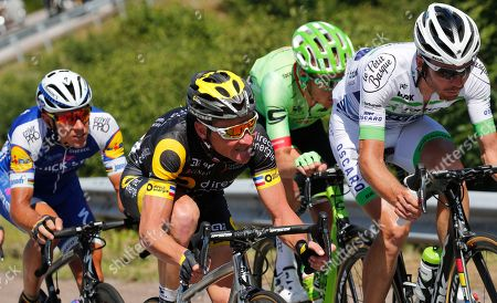 Belgium's Philippe Gilbert, France's Thomas Voeckler, Netherland's Dylan van Baarle, and France's Pierre Luc Perichon, ride in the breakaway group during the fifth stage of the Tour de France cycling race over 160.5 kilometers (99.7 miles) with start in Vittel and finish in La Planche des Belles Filles, France