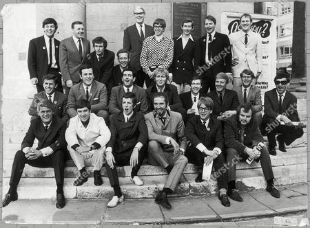 Team Of Disc Jockey's and Annoucers-  L To R Back Row. Tony Blackburn, Jimmy Young, Kenny Everett, Duncan Johnson, Programme Controller Robin Scott, David Rider, Dave Cash, Pete Brady, David Symonds,  Middle Row L To R. Bob Holness, Terry Wogan, Barry Aldiss, Mike Lennox, Keith Skues, Chris Denning, Johnny Moran, Pete Myers, Front Row L To R. Pete Murray, Ed Stuart, Pete Drummond Mike Raven, Mike Ahern and John Peel