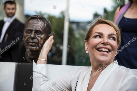 Widow of late Czech Republic's President Vaclav Havel, Dagmar Havlova, smiles during the inauguration of the Vaclav Havel Building, in Strasbourg, Eastern France