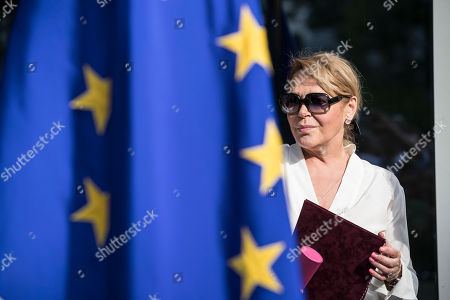 Stock Image of Widow of late Czech Republic's President Vaclav Havel, Dagmar Havlova, attends the inauguration of the Vaclav Havel Building, in Strasbourg, Eastern France