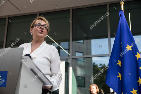Stock Image of Widow of late Czech Republic's President Vaclav Havel, Dagmar Havlova, speaks during the inauguration of the Vaclav Havel Building, in Strasbourg, Eastern France