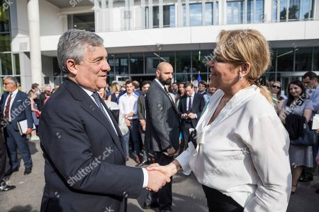 Widow of late Czech Republic's President Vaclav Havel, Dagmar Havlova, right, shakes hands with Antonio Tajani, President of the European Parliament, during the inauguration of the Vaclav Havel Building, in Strasbourg, Eastern France
