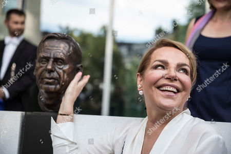 Stock Photo of Widow of late Czech Republic's President Vaclav Havel, Dagmar Havlova, smiles as she attends the inauguration of the Vaclav Havel Building, in Strasbourg, Eastern France