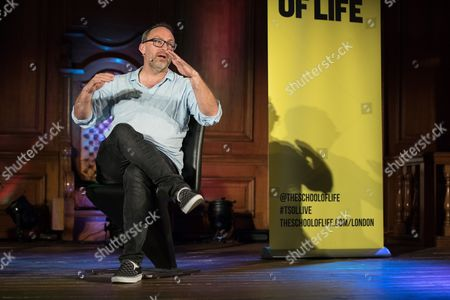 Wikipedia founder Jimmy Wales in conversation with comedian Stewart Lee at the Emmanuel Centre.