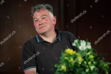 Comedian Stewart Lee in conversation with Wikipedia founder Jimmy Wales at the Emmanuel Centre.