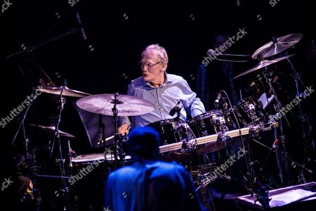 London United Kingdom - October 25: Drummer Ginger Baker Performing Live On Stage As Part Of The 'evening For Jack Bruce' Tribute Concert At The O2 Shepherd's Bush Empire In London On October 25