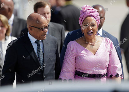 South African President Jacob Zuma, left, and his wife Thobeka Madiba Zuma arrive for the G-20 summit in Hamburg, northern Germany, . The leaders of the group of 20 meet July 7 and 8