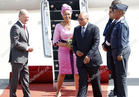 President of South Africa, Jacob Zuma (3-L), and his wife, Thobeka Madiba-Zuma, (2-L) arrive at the Hamburg International Airport ahead of the G20 summit in Hamburg, Germany, 06 July 2017. The G20 Summit (or G-20 or Group of Twenty) is an international forum for governments from 20 major economies. The summit is taking place in Hamburg 07 to 08 July 2017.