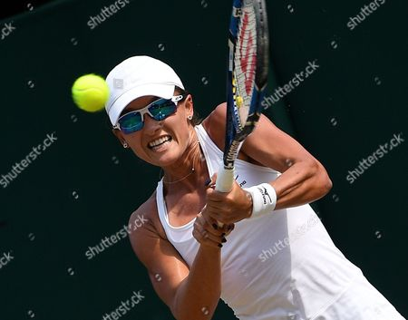 Arina Rodionova of Australia in action against Zarina Diyas of Kazakhstan during their second round match for the Wimbledon Championships at the All England Lawn Tennis Club, in London, Britain, 06 July 2017.