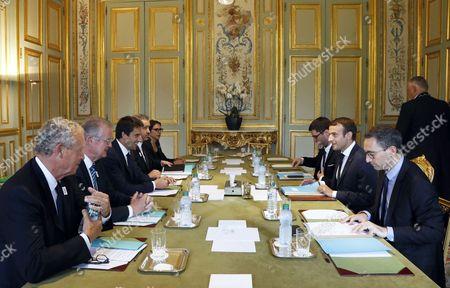 Bernard Lapasset, Tony Estanguet, Guy Drut and Emmanuel Macron