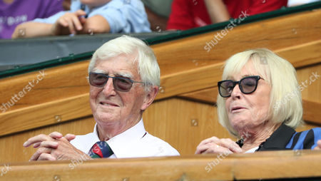Sir Michael and Lady Mary Parkinson, watch from the Royal box during the Wimbledon Championships 2017, Day 4, All England Lawn Tennis Club, London UK  06July 2017