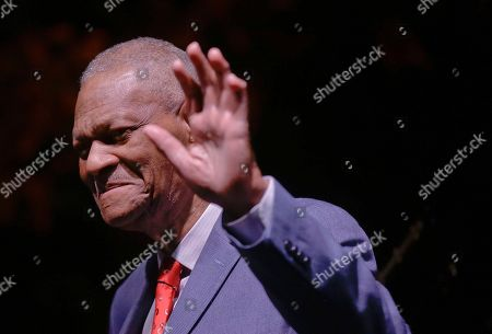 Legendary pianist McCoy Tyner waves on the stage to the audience after performing at the botanical Garden Citta' Studi, in Milan, Italy